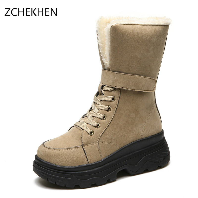 Snow Boots Suede Winter Fur military Shoes Plush Warm Ladies Winter Ankle lace up High martin Boots Women Fashion new arrivals bandage shoes woman winter women boots fur plush lace up snow boots ankle boots