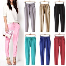 Fashion Women Leisure Strappy Pants Elastic Waist Bright Color Summer Spring Hot