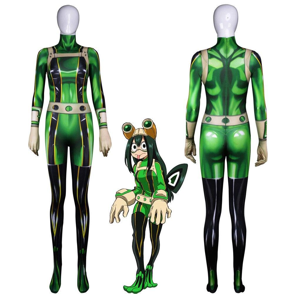 Anime 3D Women  Hero Academia Hero Academia Asui Tsuyu Cosplay Costume Zentai Bodysuit Suit Jumpsuits