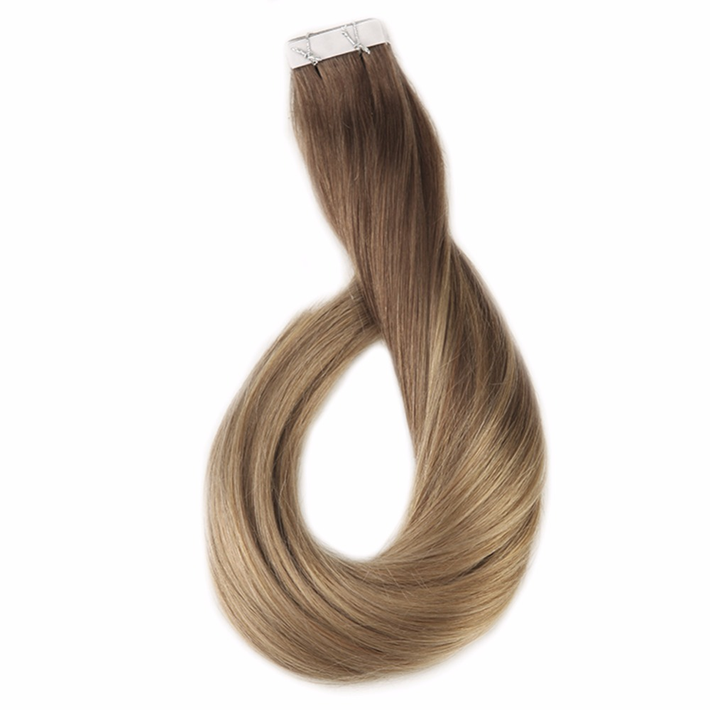 Full Shine Balayage Tape In Human Hair Color #10 Light Brown Fading To 14 Brazilian Machine Remy Hair 20Pcs 50g Tape On Hair