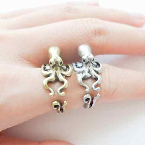Women's Men's Retro Adjustable Octopus Ring Animal Knuckle Ring Fashion Jewelry