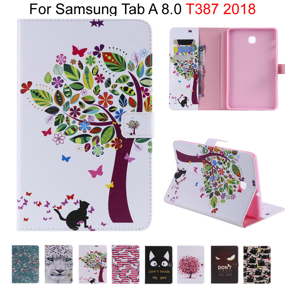 Slim Cute Print Stand Flip Case For Samsung Galaxy Tab A 8.0 T387 T387V 2018 8.0