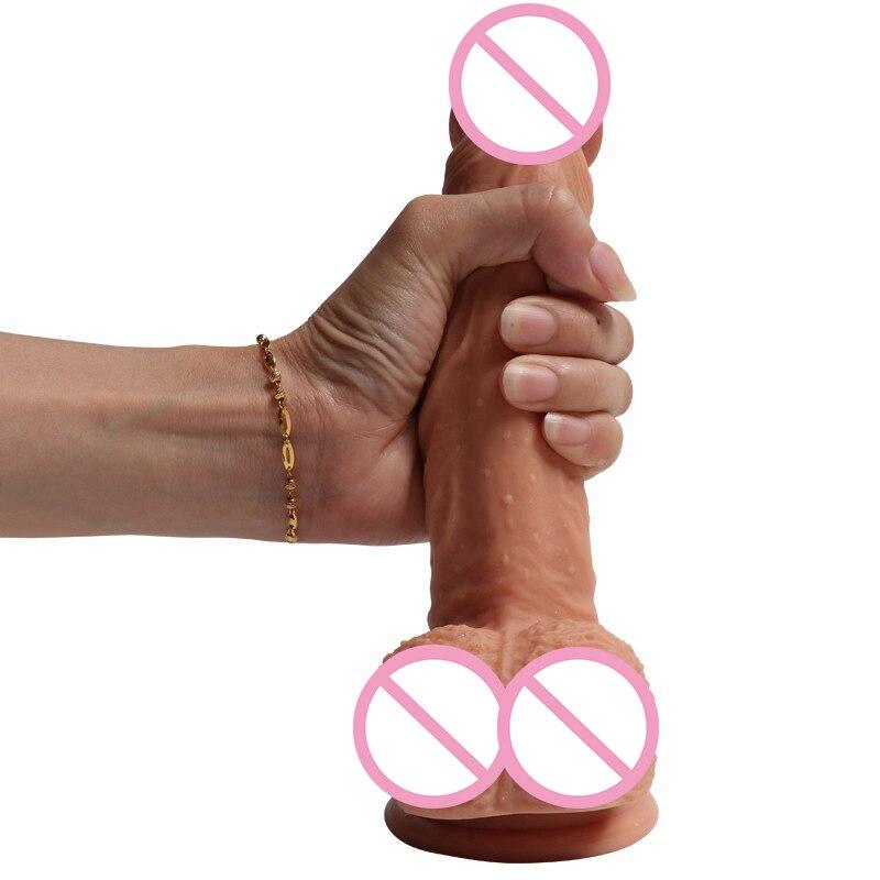 Masturbation féminine Double-couche Doux Liquide Silicone Simulation Pénis jouets pour adulte