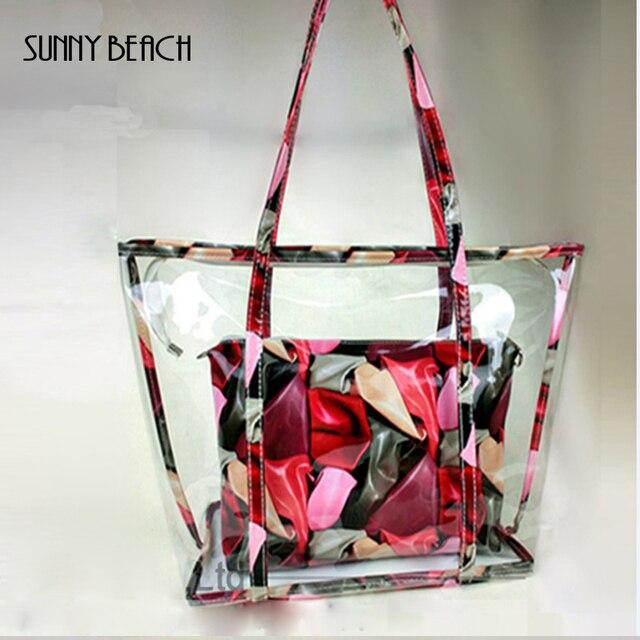 Модная Летняя женская цветочная композитная сумка Прозрачная пластиковая  прозрачная пляжная сумка ПВХ желе сумка большая сумка 3d98ca27e58