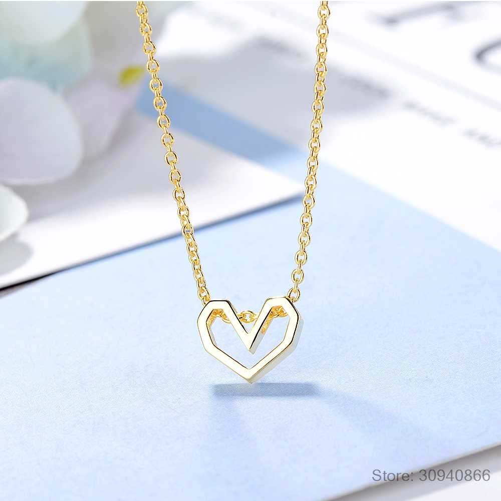 Hot Fashion Hollow Love Heart Necklace For Women Best Gift 925 Sterling Silver Necklace collares S-N281