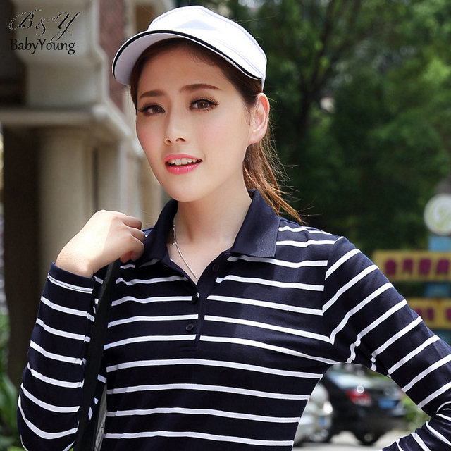 2016 Casual Women Tops Summer Style Polo Femme Cotton High Quality Shirts Long Sleeve Fashion Tops Striped Polo Shirt For Woman