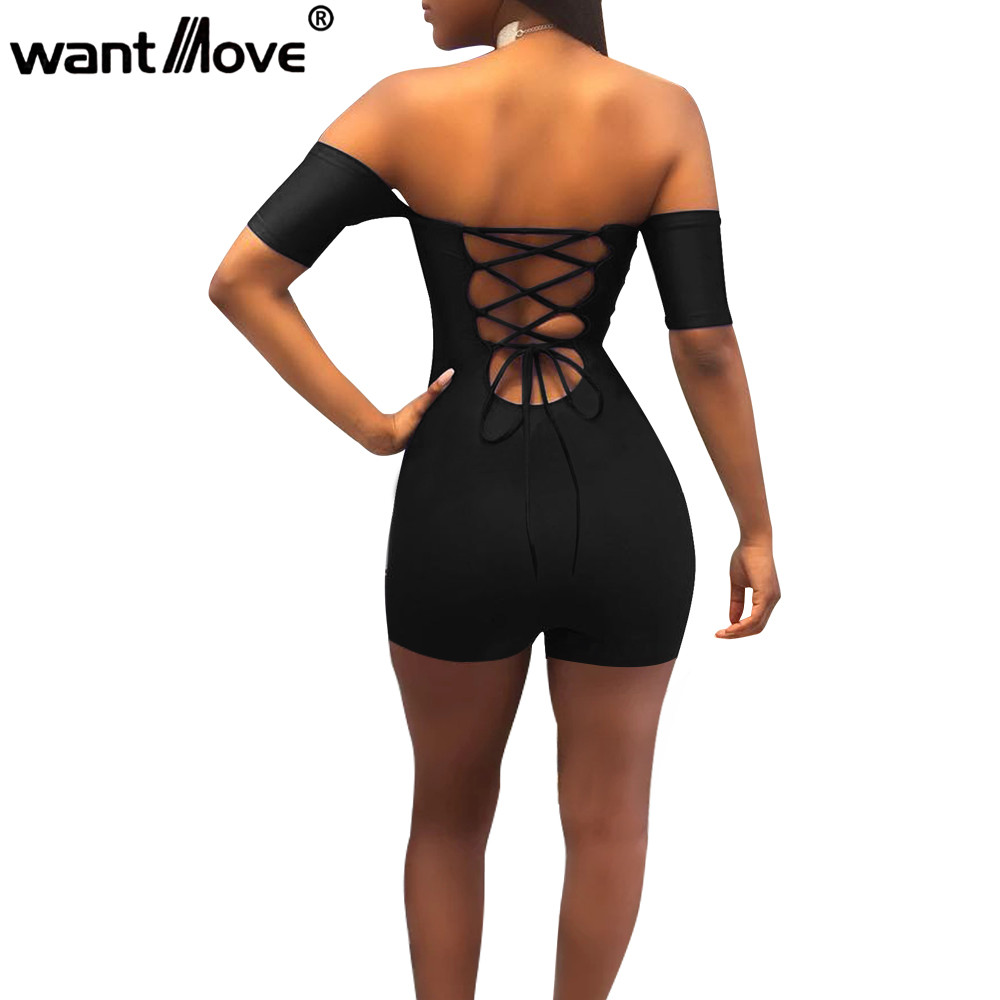 Wantmove Women Sexy Off Shoulder Lace Up Bodycon Rompers Womens Jumpsuit 2019 Summer Club Party Shorts Bodysuit Romper Jz071