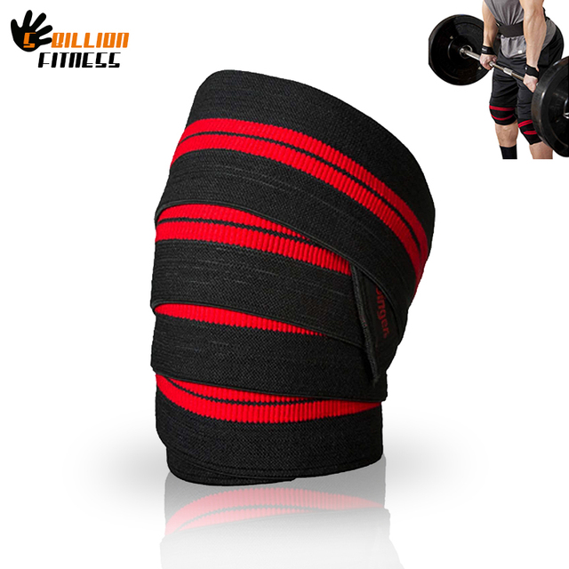 83b981366e WeightLifting Elastic Knee pads Wraps 178*8cm Elastic Knee Supports leg  Protection Gym Training Supportwraps
