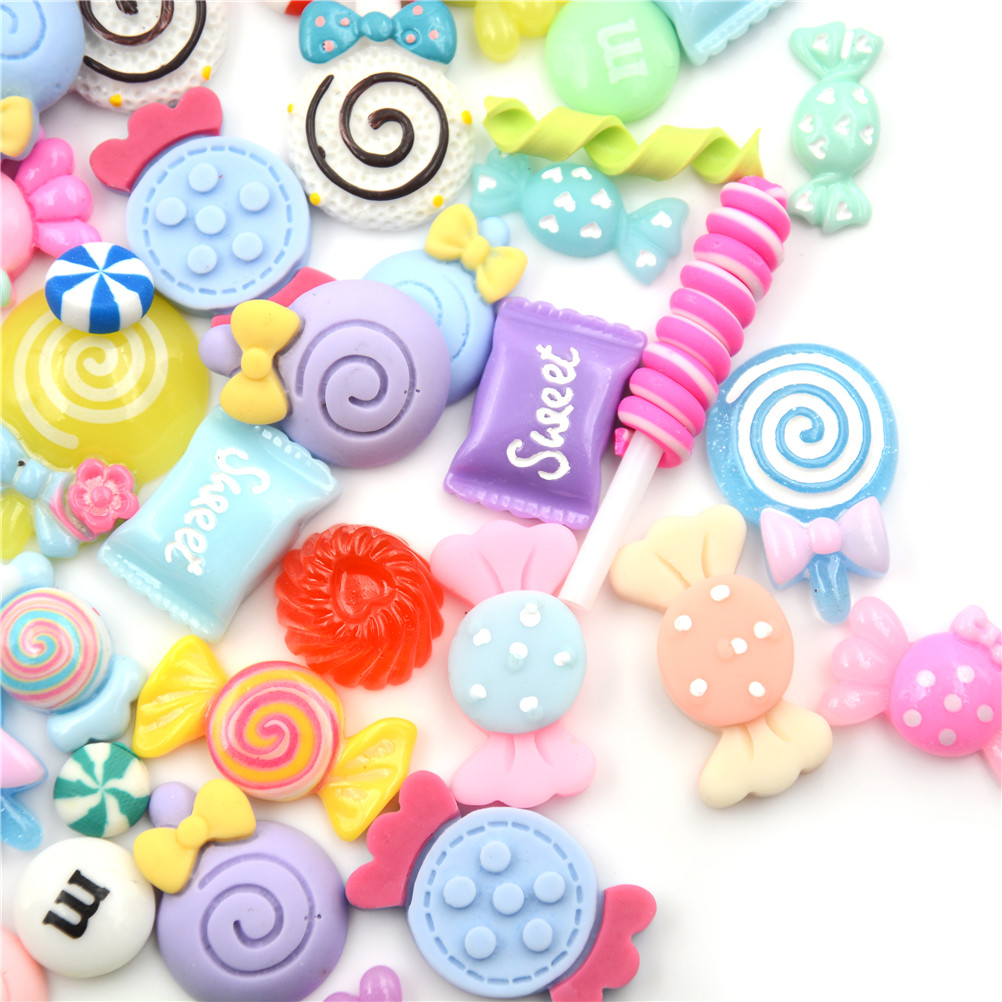 10Pcs/lot DIY Lollipop Phone Case Decor Crafts Miniature Resin Candy Dollhouse Food Kitchen Toys Dolls Miniature Pretend Toy