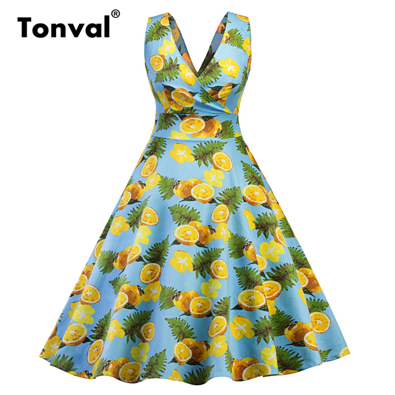 Tonval Vintage Lemon Print Swing Dress in Light Blue Elegant Women Sexy V Neck  Backless Party Summer Dresses-in Dresses from Women s Clothing on ... c7bed4ee90ee