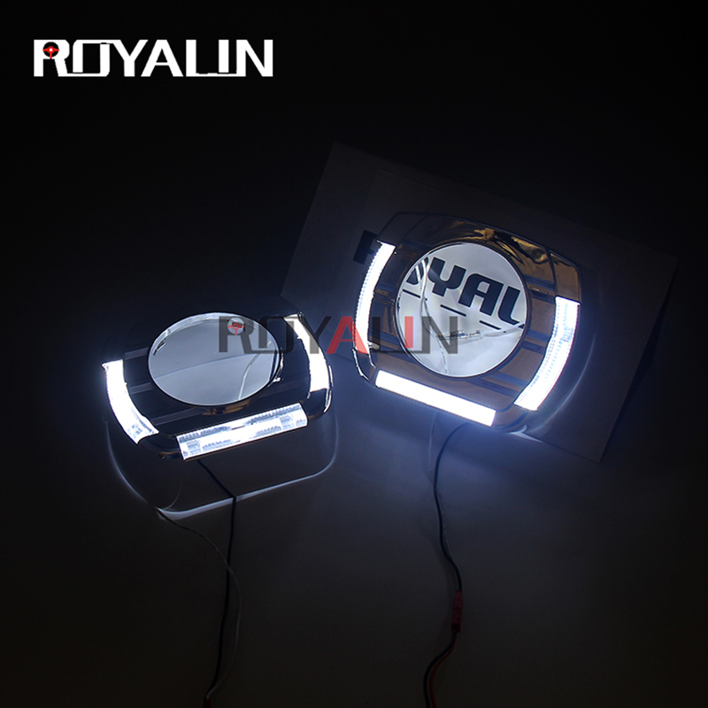 ROYALIN Car LED White Angel Eyes Shrouds For 2.0 2.5 3.0 Inch Auto Bi Xenon Projector Headlight Lens Flatboy Decorative Masks