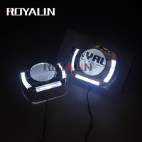 ROYALIN Car LED White Angel Eyes Shrouds For 2.0 2.5 3.0 Inch Auto Bi Xenon Projector Headlight Lens Flatboy Decorative Masks