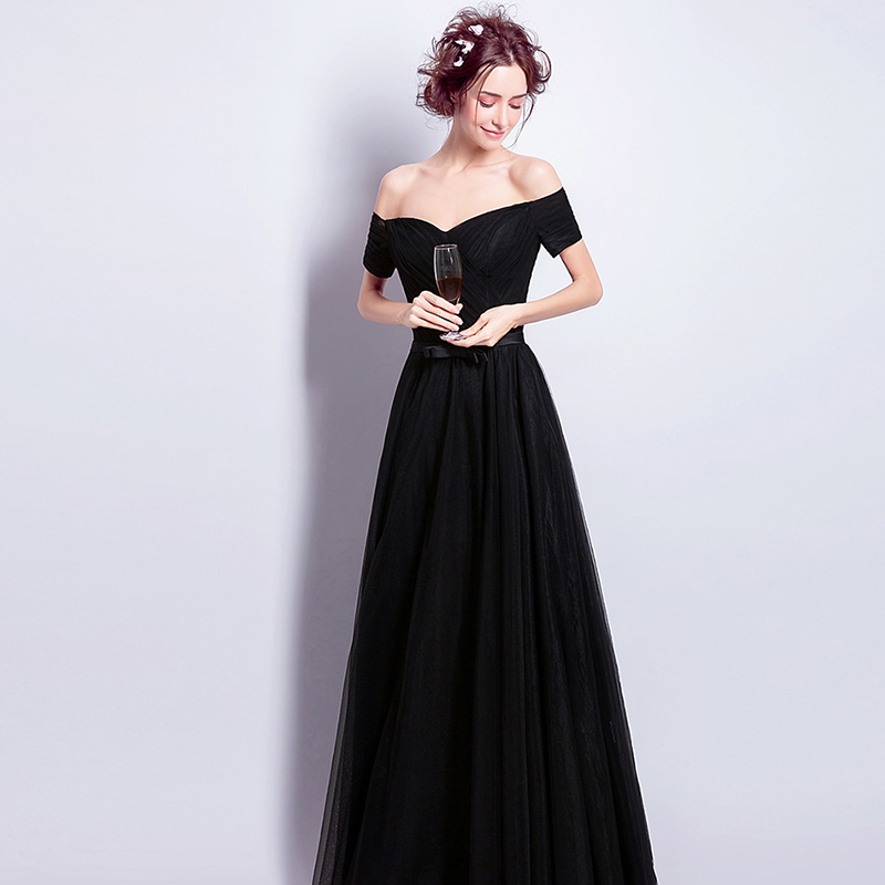 Dinner Party Dress Part - 28: AnXin SH Black Lace Dinner Party Evening Dress Performance Of The Long  Section Of The New Winter Black Evening Dress 6918-in Evening Dresses From  Weddings ...