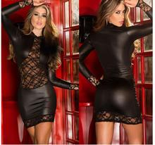 Sexy Babydolls for Women Black Pole Dance Langerie Night Clubwear Dress Fantasias Sexy Erotic Latex Catsuit Lenceria Porno Cloak
