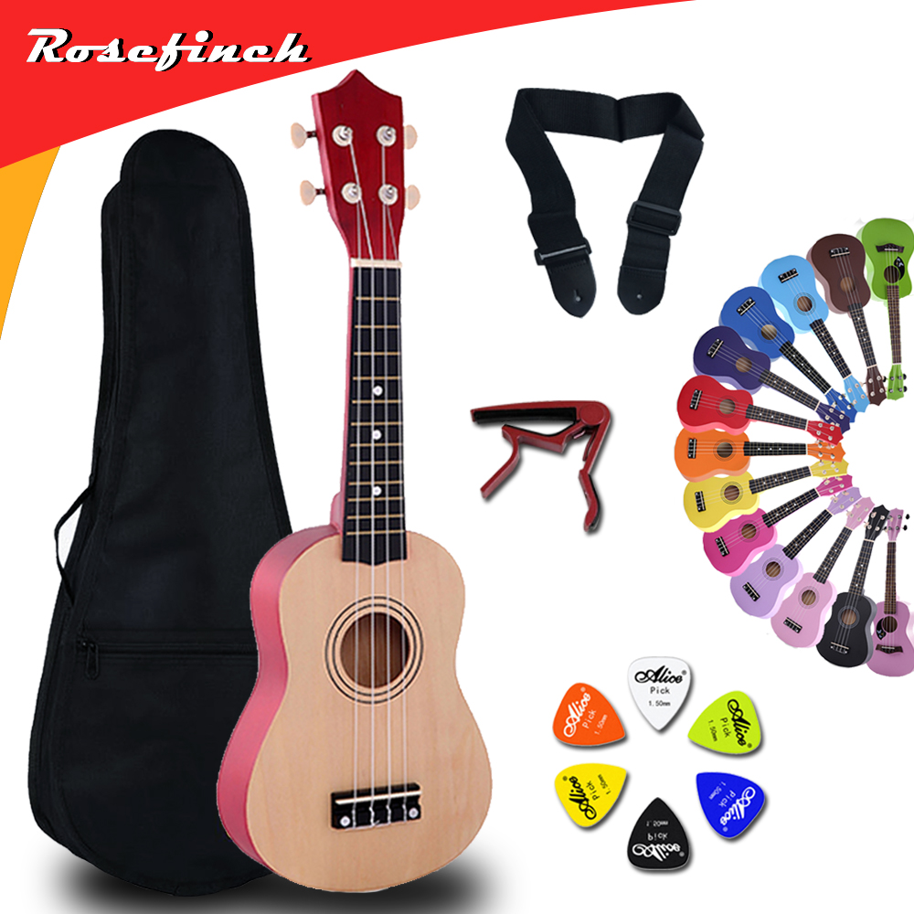 21 Inch Ukulele Hawaii Guitar Mini Guitar Ukelele Sets Bag Capo Strap Picks Kit Music For Kids Gift 14 Color UK001A