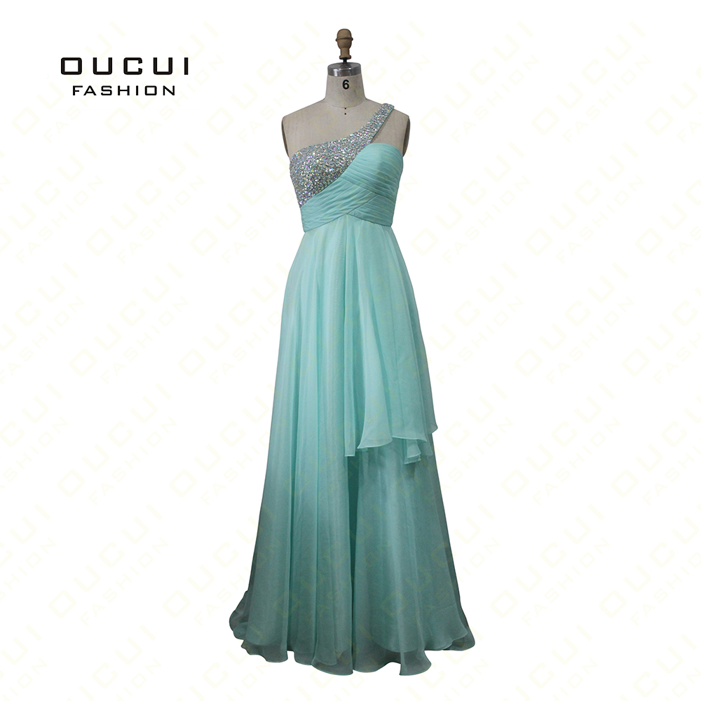Oucui Mint Green Prom Dresses One-shoulder Handmade Beading Pleat Elegant A-Line Chiffon Dress Cocktail Real Photos OL102013