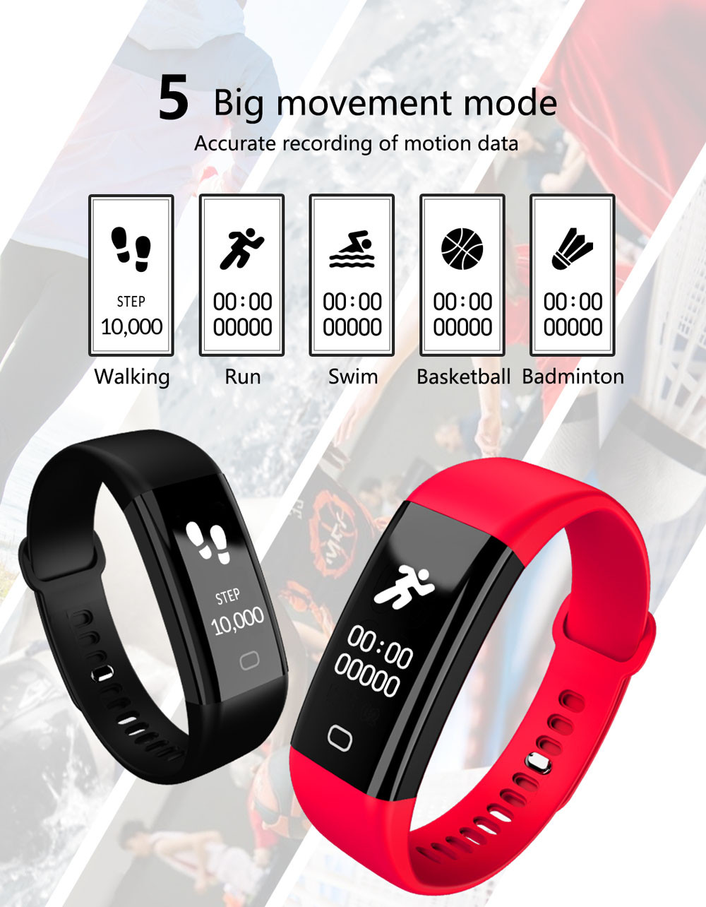 2018 New Design Sports Blood Pressure/Oxygen Heart Rate Fitness Smart Watch Wrist Band Bracelet fitness trackerdrop shopping