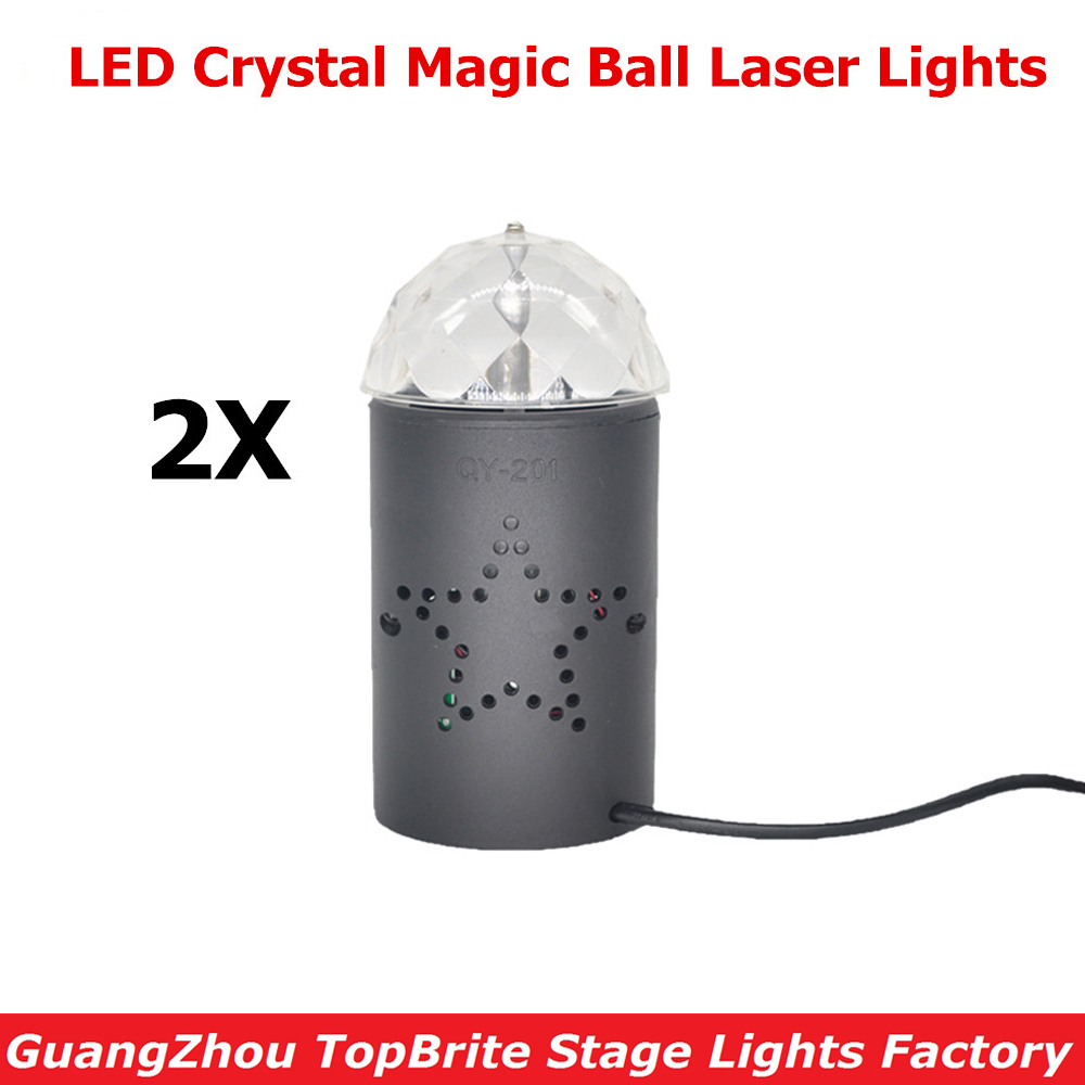 2XLot 2015 Hot Sales Mini RGB LED Crystal Magic Ball Stage Effect Lighting Lamps For Party DJ Disco Light Show Fast Shipping