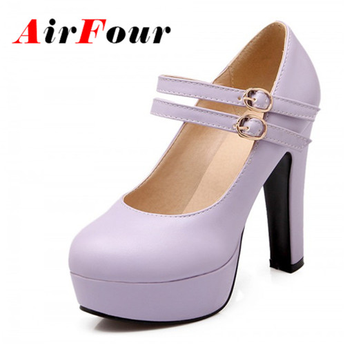 ФОТО Airfour Size 47 Women's High Heel Mary Janes Pumps New Rome Shimmery PU Party Wedding Shoes Platform Pumps Shoes Women