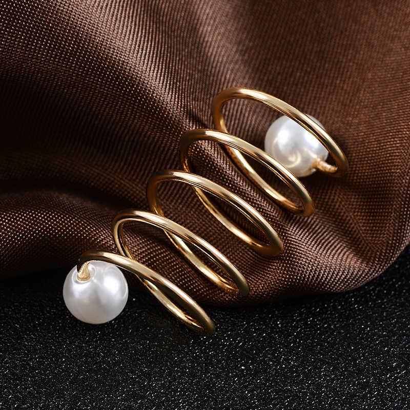 H: HYDE модные простые женские броши золотистого цвета с имитацией жемчуга спиральной формы хиджаб шаль шарфы шарф пряжка кольцо зажимы