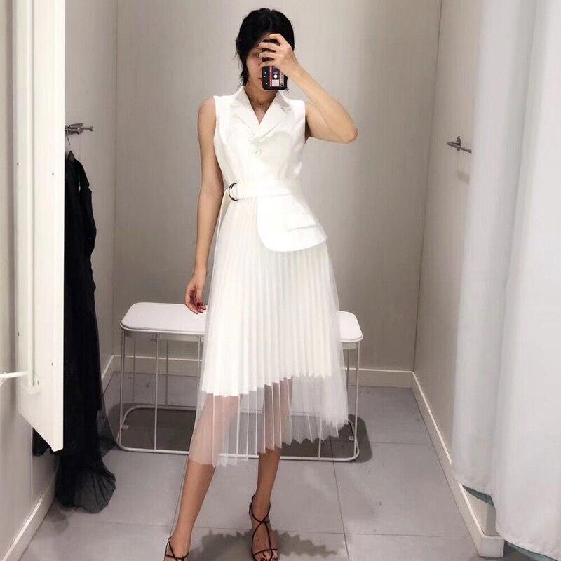 [QLZW] Высокое качество 2018 новые летние модные черный, белый цвет рукавов Фигурная строчка сетки подол Для женщин уникальный платье YC590