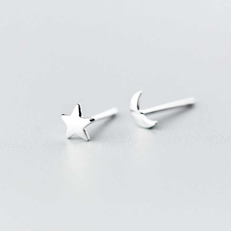 925 Sterling Silver Star Moon Stud Earrings For Women Girls School Kids Wedding Jewelry Female Brinco oorbellen eh271