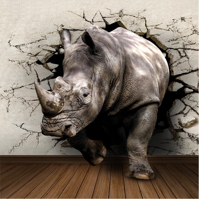beibehang room TV backdrop children's room Rhino / Lion / Elephant papel de parede 3d mural wallpaper for walls 3d flooring beibehang beautiful rose sea living room 3d flooring tiles papel de parede para quarto photo wall mural wallpaper roll walls 3d
