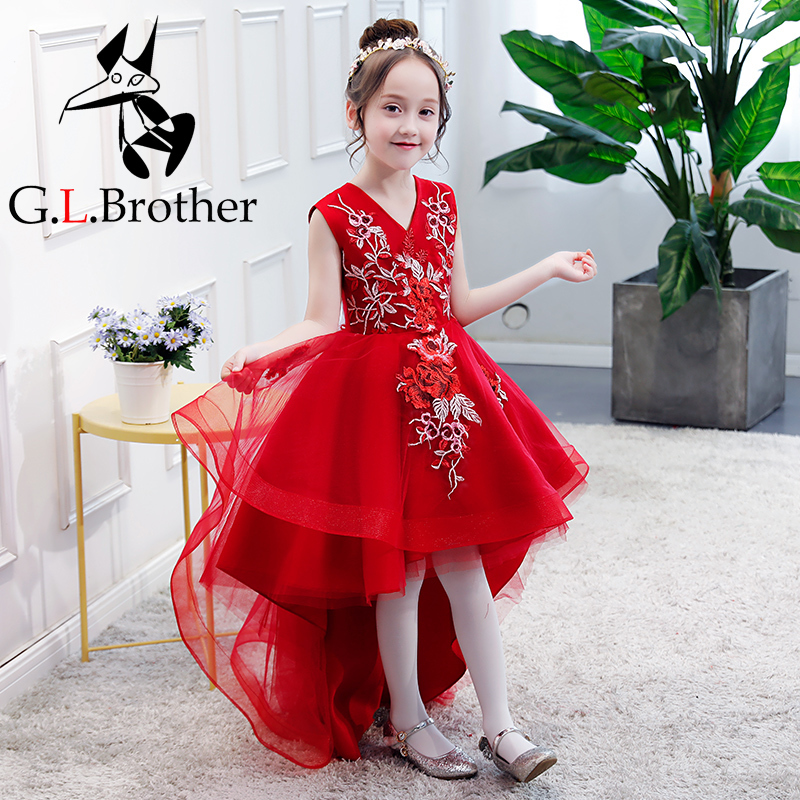 Red Flower Girl Dresses Wedding Appliques Ball Gown Kids Pageant Dress For Birthday V-neck Short Front Long Back Girl Prom Dress red mock neck lettuce edge hem mini dress