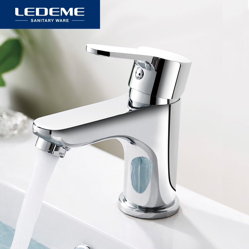LEDEME Basin Faucets Stylish Basin Faucet Brass Vessel Contracted Round Finish Chrome Modern Waterfall Faucets L1003