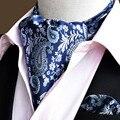 Paisley moda Scrunch Cravat Ascot Auto estilo Británico Caballero Corbata de Seda lazo Pocket Square Pañuelo Set Suit