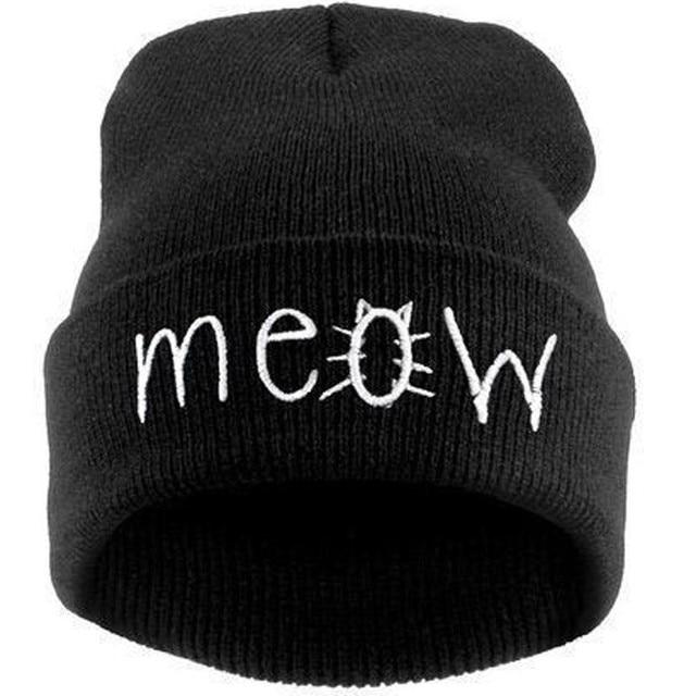 Moda MEOW Cap Hombres Casual Skullies Hip-Hop Sombreros de Lana de Punto Beanie Sombrero de Invierno Cálido Sombrero de Las Mujeres Del Envío Gratis