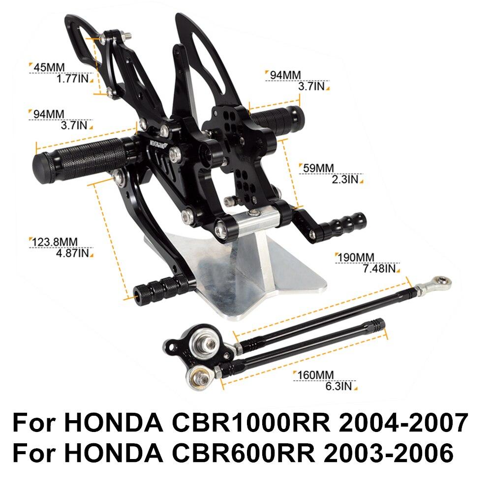 ホンダ CBR1000RR 2004 2005 2006 2007 CBR600RR 2003 2004 2005 2006 cnc オートバイ調整可能なブレーキパーツリアセットフットレスト D20  グループ上の 自動車 &バイク からの フットレスト の中 1