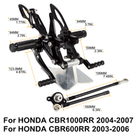 For HONDA CBR1000RR 2004 2005 2006 2007 CBR600RR 2003 2004 2005 2006 CNC Motorcycle Adjustable Rearsets Rear Sets Footrest D20