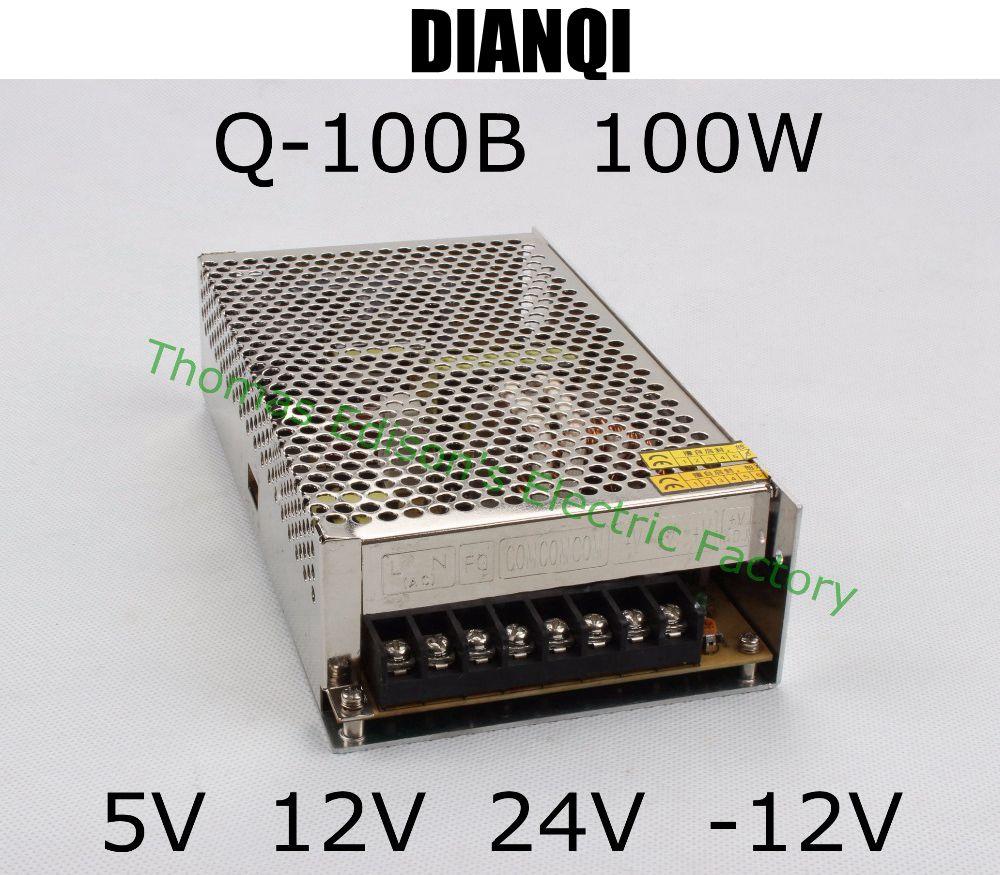 quad output power supply 100W 5V 12V 24V -12V power suply Q-100B  ac dc converter good quality 1pcs 60w 12v 5a power supply ac to dc power suply 12v 60w power supply 100 240vac 111 78 36mm