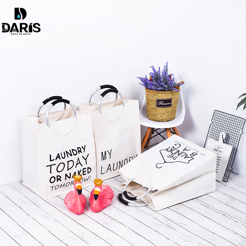 SDARISB Family Collapsible Portable Bathroom Laundry Basket Storage Bag Dirty Hamper Large Canvas Laundry Products