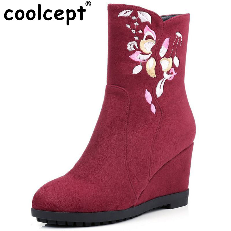 Coolcept Embroidery Women High Wedges Boots Flower Half Short Boots Winter Warm Shoes Mid Calf Botas Women Footwears Size 34-40 stylish women s mid calf boots with solid color and fringe design