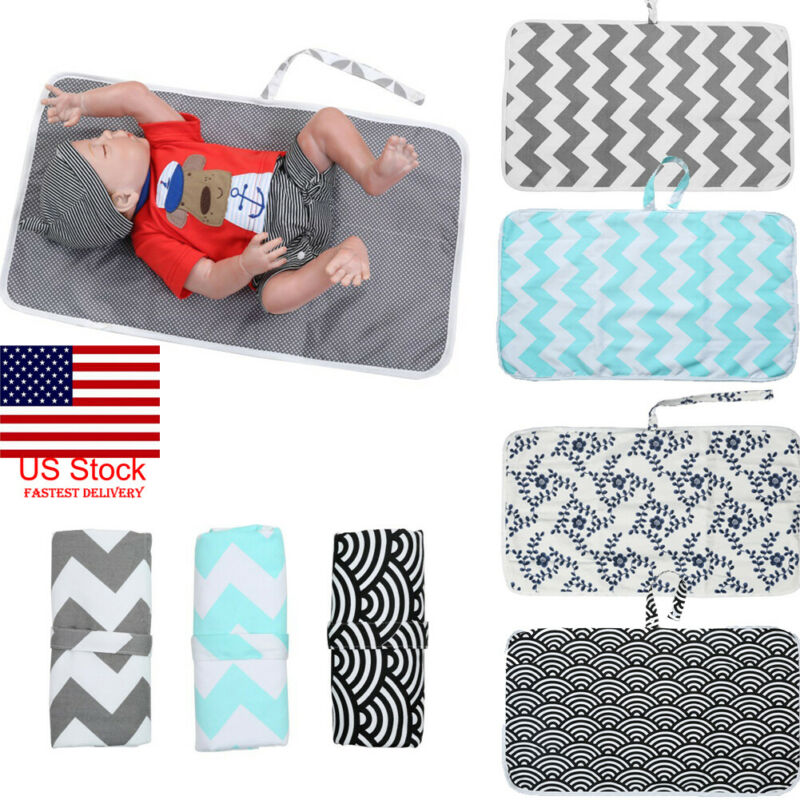 Baby Portable Folding Diaper Travel Changing Pad Covers Waterproof Mat Bag Storage Blanket