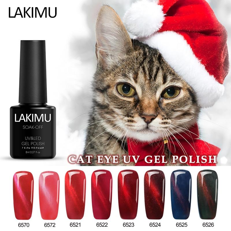 Lakimu Magnetic Gel Polish Shining Color Red Cat Eyes Effect Gel Nail Polish Soak Off Need Magnet Stick Soak-off UV Gel Lacquer