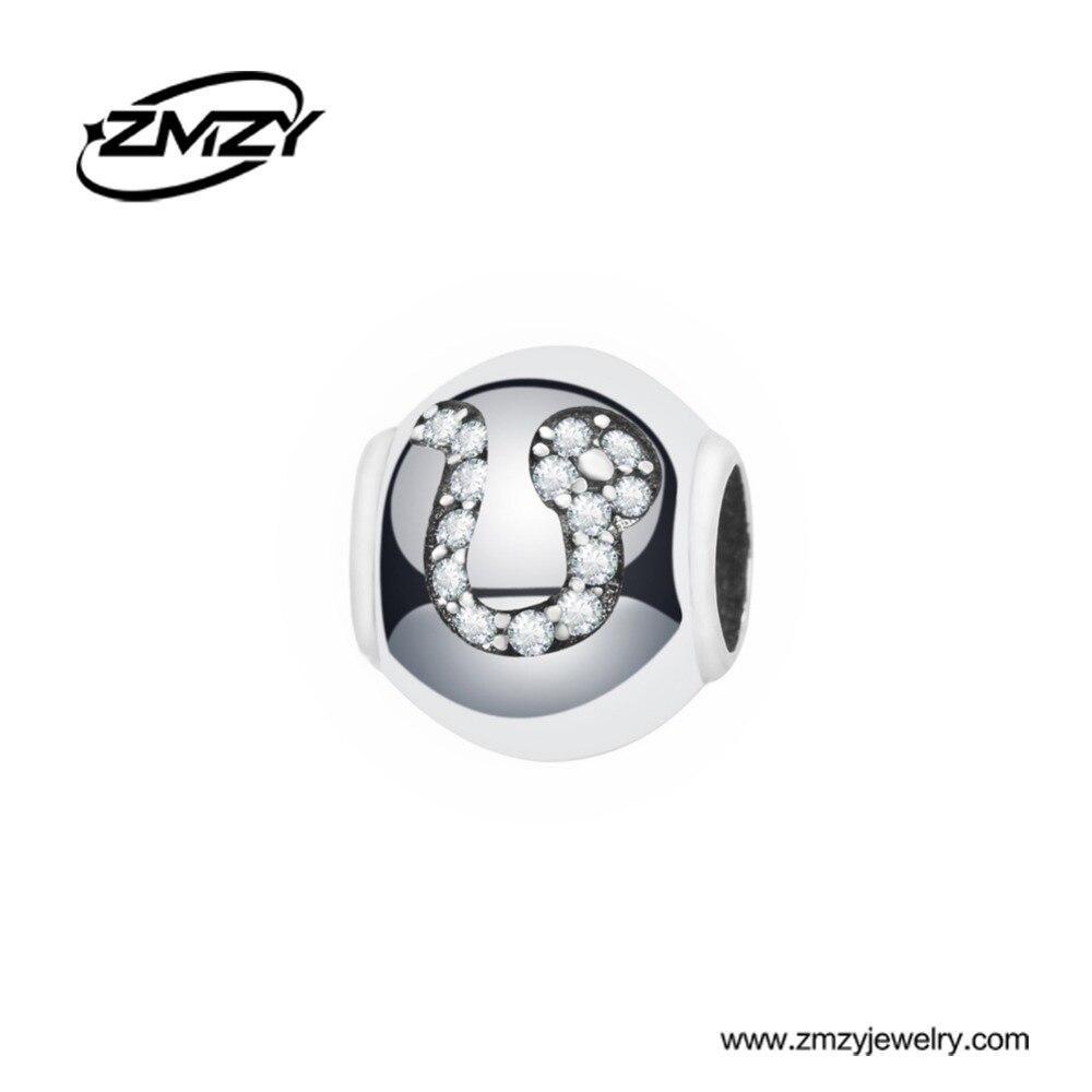 ZMZY Design Zodiac Pisces 925 Sterling Silver Charm Beads fit European Pandora Charm Bracelet