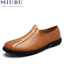 MIUBU Fashion style men handmade Genuine Leather shoes British mens casual loafers