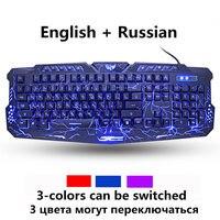 Русский/Английский Gaming Keyboard светодиодный 3-Цвет M200 USB Проводная Цвет Фул дыхание подсветкой Водонепроницаемый компьютер трещины клавиатура