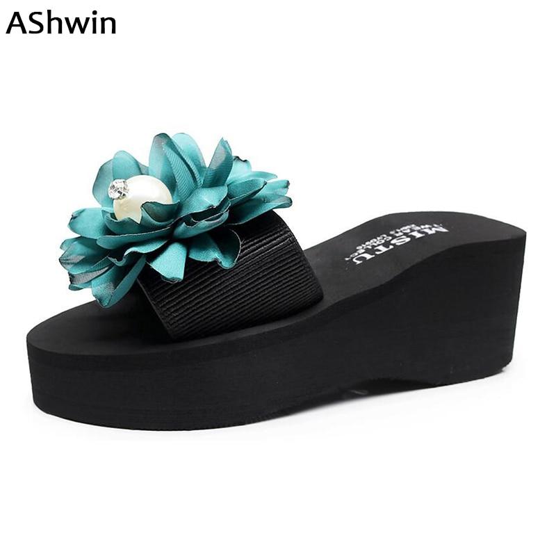 aa3110a61788e AShwin summer women high heels sandals slides slipper sandal flowers pearl  diamond fashion beach shoes outdoor