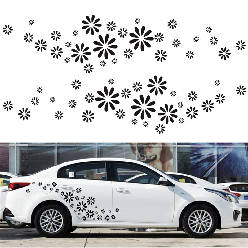 60Pcs set White Flower Decorative Car Body Sticker Car Body Racing Side Door Long Stripe Stickers Auto Vinyl Decal in Car Stickers from Automobiles Motorcycles