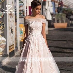 Image 5 - Swanskirt 3D Appliques A Line Wedding Dress 2020 Boho Boat Neck Tulle Court Train Bridal gown Plus size Vestido De Noiva N111