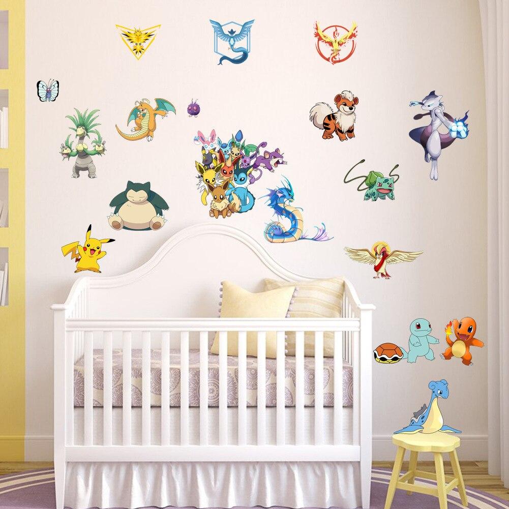 Cartoon Pokemon Go Wall Stickers For Kids Rooms Pikachu Wall Decal Poster  Art Mural Window Sticker Part 81