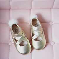 Genuine Leather Girls sandals Fashion Girls dancing Princess sandals kids toe shoe Mink velvet children ballet shoes