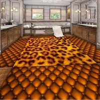 Free Shipping custom Wooden soft bag leopard washroom bathroom living room 3D stereo floor Self adhesive mural wallpaper