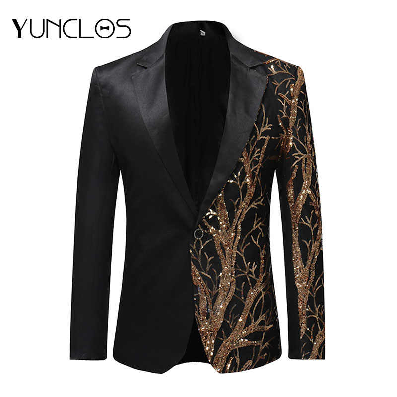 YUNCLOS  Single Breasted Sequin Stage Suit Jacket Men Party Hip Hop Suit Fashion Digital Printing Drama costume Blazer
