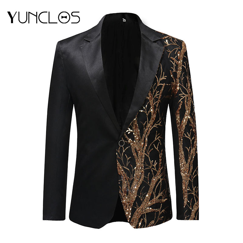 YUNCLOS 2019 Single Breasted Sequin Stage Suit Jacket Men Party Hip Hop Suit Fashion Digital Printing Drama Costume Blazer