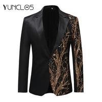 YUNCLOS 2019 Single Breasted Sequin Stage Suit Jacket Men Party Hip Hop Suit Fashion Digital Printing Drama costume Blazer Men's Suit Jackets